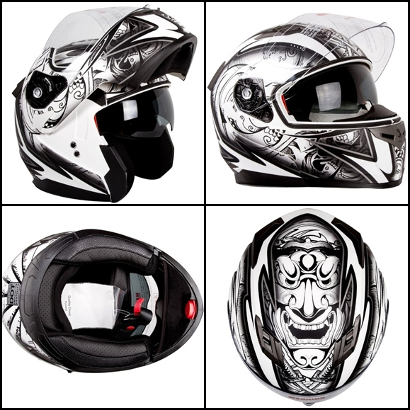 Matte-Black-and-White-Demon-Samurai-Motorcycle-Snowmobile-Helmet