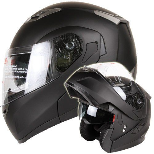 Snowmobile Matte Black Dual Visor Modular Helmet from IV2