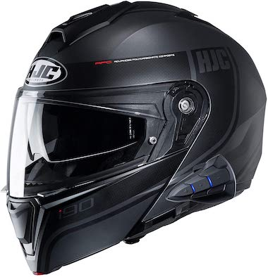HJC i90 Modular Motorcycle Helmet With Sena 10B Bluetooth Headset Davan MC5SF Large