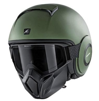 SHARK STREET DRAK Green Matte Motorcycle Helmet